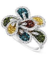 Le Vian 14k White Gold Ring, Mixberry™ Diamond Flower Ring (1-9/10 ct. t.w.)☆❤MS❤☆