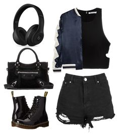 """""""BLACK"""" by volddecorltt on Polyvore featuring T By Alexander Wang, Goen.J, Balenciaga, Beats by Dr. Dre, Dr. Martens, black and ootd"""