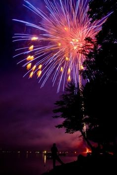 Fireworks Photos - Fireworks at Otsego Lake  I've been there...amazing!!!