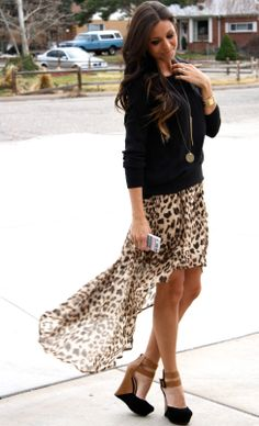 Hi low leopard skirt, black sweater, cognac and black sandals