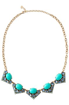 Blue & Green Stone Statement Necklace | Blue Rory Necklace | Stella & Dot. Beautiful colors. Wear it alone or layer with the Somervell for more sparkle.