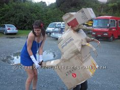 Easy Last Minute Carton Box Dinosaur Costume... 2014 Halloween Costume Contest