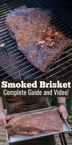 A complete guide and video for making Smoked Beef Brisket. All your questions answered! Smoker Grill Recipes, Beef Brisket Recipes, Smoked Beef Brisket, Smoked Meat Recipes, Smoker Cooking, Smoked Pork, Barbecue Recipes, Brisket Meat, Brisket Rub