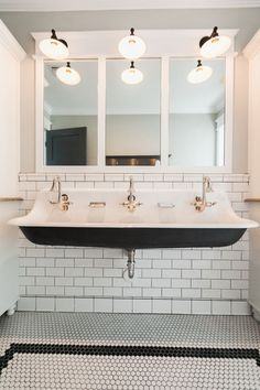 Cast iron triple faucet trough sink - by Rafterhouse. For the boys bathroom upstairs. Large Bathroom Sink, Farmhouse Bathroom Sink, Trough Sink Bathroom, White Bathroom, Simple Bathroom, Sink Faucets, Kohler Brockway Sink, Kohler Bathroom, Narrow Bathroom