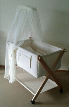 Heirloom crib By www. Baby Doll Crib, Baby Crib Diy, Baby Cribs, Hanging Cradle, Kids Cot, Baby Quilt Tutorials, Baby Hammock, Baby Comforter, Dream Baby