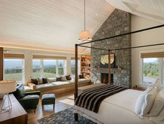Your bedroom should be a relaxing oasis to retreat to at the end of a long day, with the addition of a fireplace for a warm and cozy atmosphere. Farmhouse Style Bedrooms, Modern Farmhouse Design, Farmhouse Master Bedroom, Vintage Farmhouse, Bedroom Country, French Farmhouse, Farmhouse Chic, Rustic Bedroom Design, Master Bedroom Design