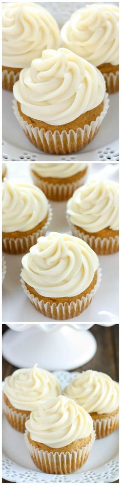 Pumpkin #Cupcakes with Cream Cheese Frosting - Moist and sweet pumpkin cupcakes with an easy cream cheese frosting. These cupcakes are perfect for #pumpkin lovers!