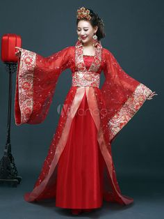 Déguisement Carnaval - Costume traditionnel chinois femelle Hanfu rouge robe femmes vêtements de la dynastie Tang 3 pièces Hanfu, Chinese Traditional Costume, Traditional Fashion, Costume Chinoise, Dynasty Clothing, Rajputi Dress, Chinese Clothing, Chinese Dresses, Gala Dresses