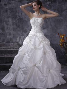 Vestido de noiva Sem alças Cauda comprida Com bordado De tafetá - Milanoo.com