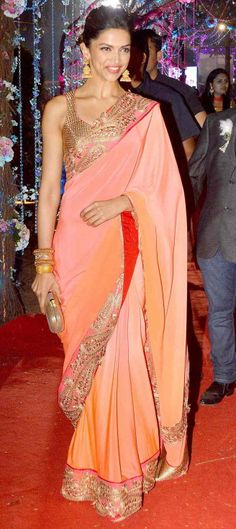 2 Feb, 14: Deepika Padukone in an ombre Jade Saree & gold blouse at Wedding Reception of Hema & Dharmendra's daughter Ahana & Vaibhav Vora
