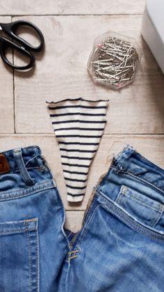 Jean Diy, Denim And Co, Repair Jeans, Long Dress Design, Sewing Pants, Diy Tassel, Sewing Lessons, Clothing Hacks, Refashion