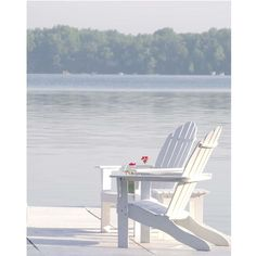"Items similar to Beach Photography-Fine Art Photography-Coastal Home Decor-Adirondack Chairs-Blue- White Print-""Sunday Morning"" on Etsy Shades Of White, Lake Life, Beach Cottages, Beach Photography, Adirondack Chairs, Outdoor Chairs, Coastal Living, Coastal Decor, Rustic Furniture"