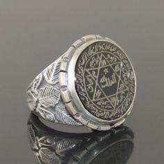 Sello de anillo talismán islámica del profeta Salomón 925 Plata Maciza Grabado Onyx