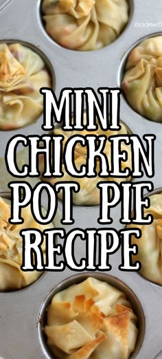 Mini Chicken Pot Pie Recipe. How to make mini chicken pot pie recipes. chicken pot pie egg rolls. Wonton Chicken Pot Pie Bites. Muffin Tin Recipes, Pie Recipes, Egg Roll Recipes, Chicken Recipes, Cooking Recipes, Healthy Recipes, Chicken Meals, Easy Recipes, Yummy Appetizers