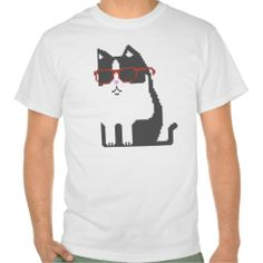 Grey Cat In Red Glasses Pixel Art T-Shirt