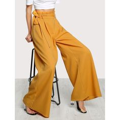 Fit Type: Loose Color: Ginger Material: 100% Polyester Style: Elegant Pattern Type: Plain Pant Type: Wide Leg Closure Type: Zipper Fly Waist Type: High Waist Waist (cm): XS: 64 cm, S: 68 cm, M: 72 cm, L: 76 cm Hip Size (cm): XS: 98 cm, S: 102 cm, M: 106 cm, L: 110 cm Thigh (cm): XS: 73 cm, S: 75 cm, M: 77 cm, L: 79 cm Length (cm): XS: 107.5 cm, S: 108.5 cm, M: 109.5 cm, L: 110.5 cm Size Available: XS, S, M, L Pant Length: Long Belt: Yes Fabric: Fabric has no stretch Season: Spring, Fall…
