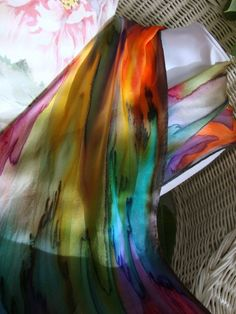 Hand Dyed Hand Painted Silk Over the Rainbow Silk by MommaGoddess