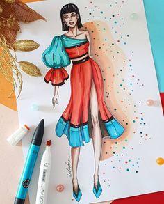 Fashion illustration of woman in orange asymmetric dress, Digital file Dress Design Drawing, Dress Design Sketches, Fashion Design Sketchbook, Fashion Design Drawings, Fashion Sketches, Fashion Drawing Dresses, Fashion Illustration Dresses, Fashion Design Template, Fashion Figures