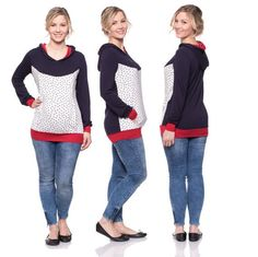 Viva la Mama   This is one of our classics: the MAYBEL light nursing shirt is stylish, young and great everyday wear. Enough room for your beautiful baby bump and easy but discrete breastfeeding access! The floral & navy long-sleeved nursing & maternity hoodie MAYBEL has a comfortable and long cut but is also playful with its little flowers. MAYBEL makes discreet breastfeeding everywhere possible. Your perfect piece in your pregnancy fashion wardrobe.