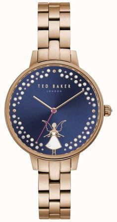 Ted Baker Womens Kate Fairy Crystal Set Dark Blue Dial - First Class Watches™ Ted Baker Watches, Ted Baker Womens, Silver Pocket Watch, Ladies Of London, Stainless Steel Case, Gold Watch, Bracelet Watch, Quartz, Nordstrom
