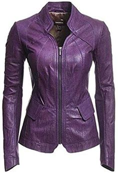 Amazing offer on Women's Leather Jacket Bomber Biker Moto Real Lambskin Leather Jacket Womens Purple Coat online - yourpower Purple Leather Jacket, Leather Jacket Outfits, Vegan Leather Jacket, Lambskin Leather Jacket, Purple Jacket, Purple Coat, Blazer Jacket, Leather Blazer, Moto Jacket