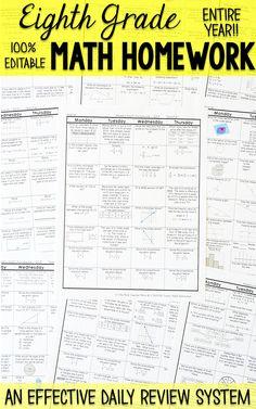 8th grade math spiral review 8th grade math homework or warm ups rh pinterest com