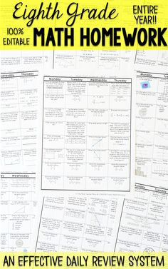 Eighth grade math homework or warm ups that provide a daily review for 8th grade math standards. This eighth grade spiral math review resource is fully EDITABLE and comes with answer keys and a pacing guide.