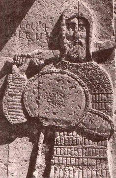 Armenian themed Goliath, dressed in medieval Armenian military attire, Armenian Cathedral of the Holy Cross on Akhtamar Island Van, Western Armenia (nowadays: Turkish republic)