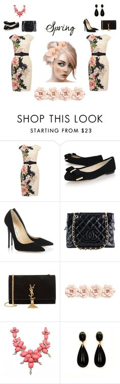 """Day to Evening"" by sheri-gifford-pauline ❤ liked on Polyvore featuring Phase Eight, MICHAEL Michael Kors, Jimmy Choo, Chanel, Yves Saint Laurent, J.Crew, flowerdress, transition and daytoevening"