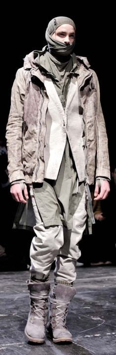 mens, fashion, edgy, by Boris Bidjan Saberi Dark Fashion, High Fashion, Fashion Show, Fashion Art, Mens Fashion, Fashion Design, Apocalypse Fashion, Dystopian Fashion, Post Apocalyptic Fashion