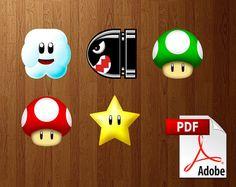 "Super Mario DIY 5"" Paper Party Decorations - Printable PDF (digital delivery) Mushrooms, Power Star, Bullet Bill, Cloud"