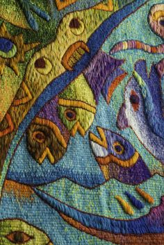 "Tapestry Detail, ""Five Manta Ray Fish"", Handwoven Tapestry by Peruvian Artist Maxmio Laura, 39 x 62 in /// US$ 2,980, shipping included"
