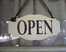 Whimsical Shop Open Close Store Hours Scalloped by heartfeltgiver Shop House Plans, Shop Plans, Office Signs, Office Decor, Vinyl Signs, Wood Signs, Visual Merchandising, Antique Shops, Vintage Shops