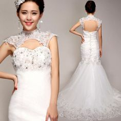 Sexy White Beaded Tulle Lace Cheongsam Mermaid Wedding Bridal Dress Gown SKU-117171