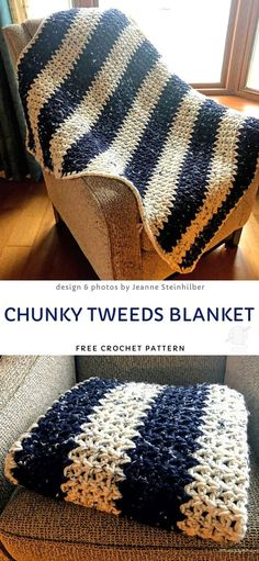 Crocheting 39522 Comfy and Modern Winter Blankets Free Crochet Patterns. This beautiful striped blanket is easily adjustable in size, so you can make a smaller, or a bigger one very easily. Stripes make it very classic and great for any interior style. Crochet Afghans, Afghan Crochet Patterns, Crochet Yarn, Chunky Crochet Blankets, Cool Crochet Blanket, Beginner Crochet Blankets, Chunky Crochet Blanket Pattern Free, Free Crochet Patterns For Beginners, Crochet Throws