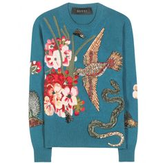 Gucci - Embellished and embroidered wool sweater - Gucci makes a winter statement with this ornately embellished knit. The teal piece features this season's hummingbird and flowers motif, embroidered in metallics and embellished with an opulent beading. An iconic look, we think you'll treasure this festive piece for years to come. seen @ www.mytheresa.com