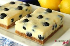 Blueberry Lemon Bars  For the crust:    •1 1/2 cups graham cracker crumbs   •6 tablespoons butter, melted   •1/4 cup granulated sugar   •Zest of one lemon     For the filling:   •2 large egg yolks   •1 (14 ounce can) sweetened condensed milk    •1/2 cup fresh lemon juice   •1 teaspoon lemon zest   •1 cup fresh blueberries
