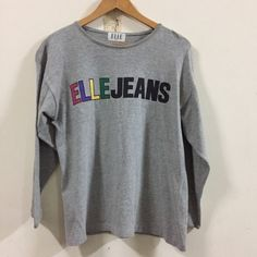 Vintage ELLE JEANS Women Spell Out Gray  Shirt Top Free Size    eBay