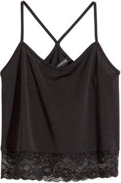 H&M Short Lace Tank Top - Black - Ladies on shopstyle.com