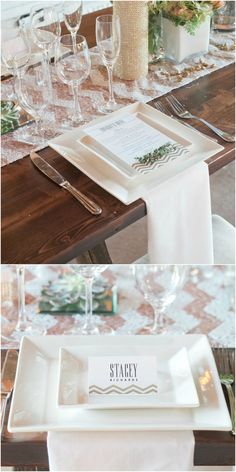 Wedding place setting, chevron runner, pink & white sequins, square plates, romantic glam // Molly Tobias Photography