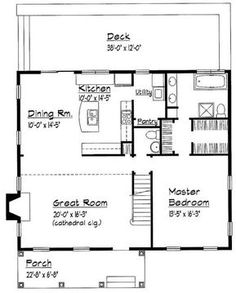 Dream Home Country Floor Plan - Main Floor Plan Plan 1216 sq ft, can add sunroom laundry and mudroom. Little House Plans, Small House Floor Plans, Cabin Floor Plans, Little Houses, Simple Floor Plans, Small Houses, The Plan, Plan Plan, How To Plan