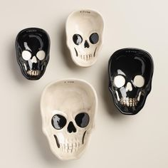 Our black and white ceramic skull measuring cups feature contrast color details and nest within each other for easy storage. >> #WorldMarket Halloween