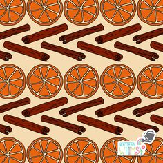 A closer look at an orange slice and cinnamon pattern from Northern Whimsy's Christmas Spice collection. Surface Pattern, Digital Scrapbooking, Closer, Cinnamon, Spices, Stationery, Wallpapers, Watercolor, Orange