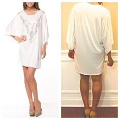 Oversized Tunic Mini Dress ✳️Bundle to save 15%!✳️ Ivory with silver embellished necklace at the collar Can be worn as a tunic top or a mini dress Jersey fabric: 95% Rayon, 5% Spandex Made in the USA Size suggestions:  S (2-4), M (6-8), L (10-12), XL (14-16) Boutique  Dresses Mini