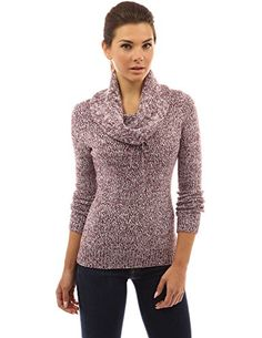 PattyBoutik Womens Drawstring Cowl Neck Marled Sweater Magenta and White S *** You can get additional details at the image link.