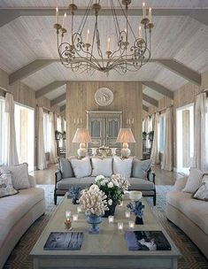 Love the driftwood look of the paneling. #driftwood #chandelier