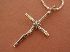 Mens cross necklace rustic twig cross heavy chain by stratussilver, $67.00