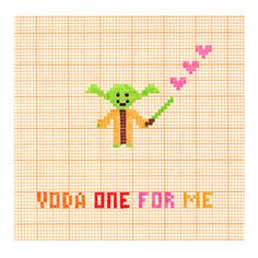 Yoda One For Me  Star Wars  Love Romance Card by OwlandBrew