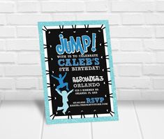 Need to get your hands on invitations quick? Print these invitations yourself right from home or your favorite print shop! Simply fill in the box above with your child's name and party details. Trampoline Jump, Trampoline Party, Personalized Invitations, Printable Invitations, Kids Birthday Party Invitations, 8th Birthday, Kind, Boys