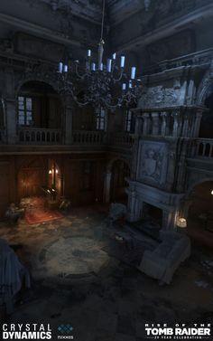 Rise of the Tomb Raider: Blood Ties dlc, Ronald Houtermans Gothic House, Victorian Gothic, Vampire House, Wattpad Background, Wayne Manor, Dark Castle, Rise Of The Tomb, Fantasy Places, Dark Places